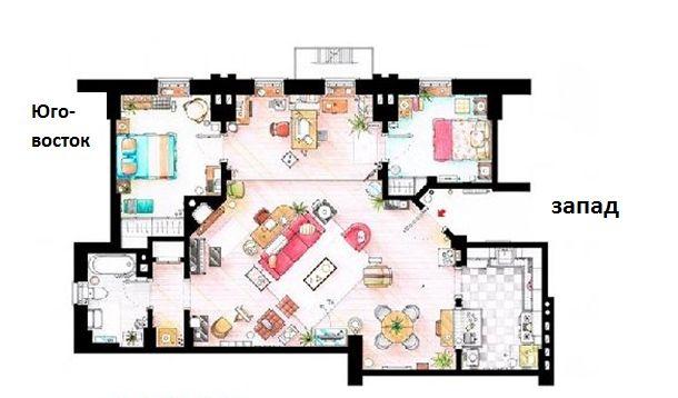 план дома вход на западе